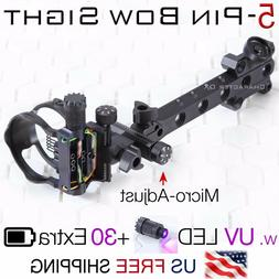 "5 Pin 7 Pin Micro-Adjust Compound Bow Sight .019"" Fiber LED"