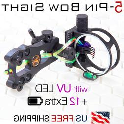 "5 Pin Compound Bow Sight .019"" Fiber 3-Level UV LED Black Bo"