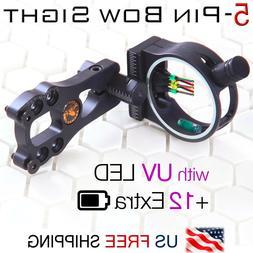 """5 Pin Compound Bow Sight .029"""" Fiber Pin UV LED Light Black"""