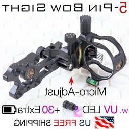 "5 Pin Micro-Adjust Compound Bow Sight .019"" Fiber 3-Levels U"