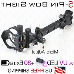 "5 Pin Micro-Adjust Compound Bow Sight .019"" Fiber UV LED + B"