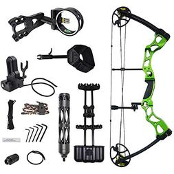 iGlow 30-55 lbs Green Archery Hunting Compound Bow with Prem